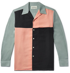 Wacko Maria Camp-Collar Colour-Block Lyocell Shirt