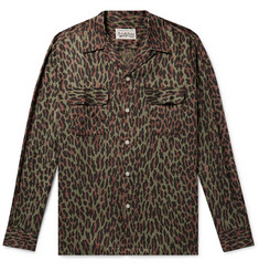 Wacko Maria Camp-Collar Leopard-Print Cotton and Lyocell-Blend Shirt