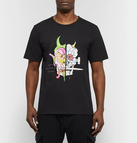 + Wolf's Head Printed Cotton Jersey T Shirt by Wacko Maria