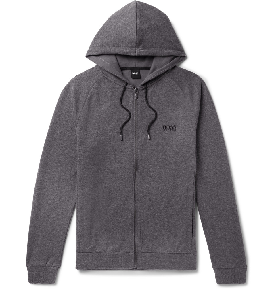 Hugo Boss Logo-Embroidered Melange Cotton-Blend Jersey Zip-Up Hoodie