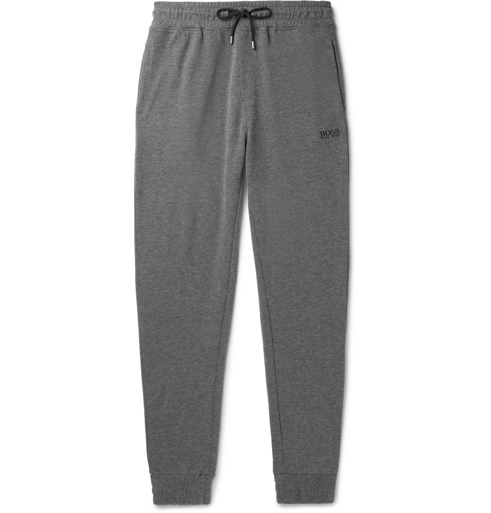 Hugo Boss Tapered Melange Cotton-Blend Drawstring Sweatpants