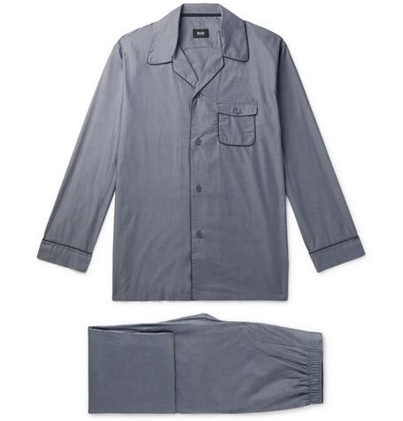 Contrast-tipped Cotton Pyjama Set