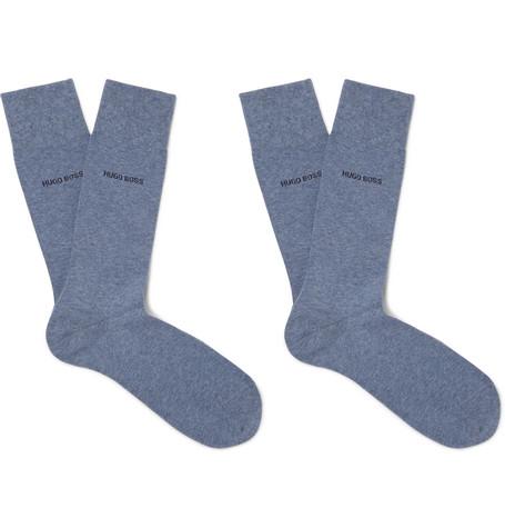 Two-pack Mélange Stretch Cotton-blend Socks