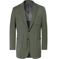 P. Johnson Grey-Green Wool-Blend Twill Suit Jacket