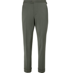 P. Johnson - Grey-Green Slim-Fit Wool-Blend Twill Suit Trousers