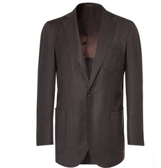 P. Johnson Dark-Brown Wool and Cashmere-Blend Flannel Suit Jacket