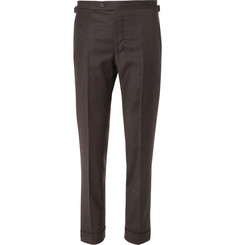 P. Johnson - Dark-Brown Tapered Wool and Cashmere-Blend Flannel Suit Trousers