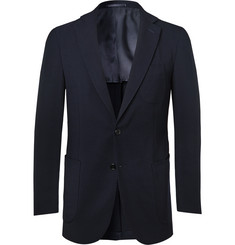 P. Johnson Navy Slim-Fit Unstructured Ribbed Wool-Blend Suit Jacket