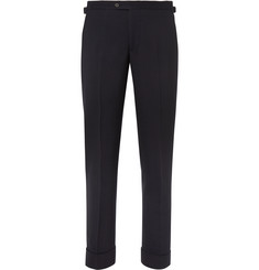 P. Johnson Navy Slim-Fit Ribbed Wool-Blend Suit Trousers