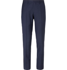 Hugo Boss Navy Slim-Fit Alcantara-Trimmed Birdseye Virgin Wool Trousers