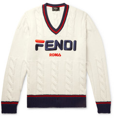 Fendi Slim-Fit Logo-Appliquéd Cable-Knit Sweater