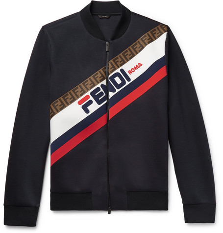 shell Bomber Navy Logo Stretch Fendi appliquéd Jacket qRwf7w