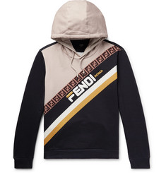 Fendi Logo-Appliquéd Fleece-Back Cotton-Jersey Hoodie