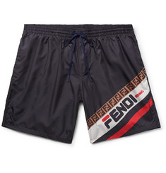 Fendi Slim-Fit Short-Length Logo-Print Swim Shorts