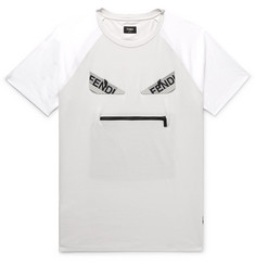 Fendi Bag Bugs Logo-Appliquéd Cotton-Jersey T-Shirt