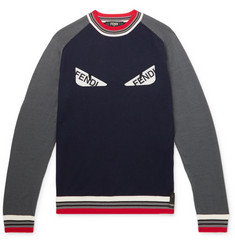 Fendi Bugs Logo-Appliquéd Wool Sweater