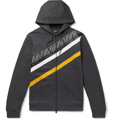Fendi Logo-Print Fleece-Back Cotton-Jersey Zip-Up Hoodie