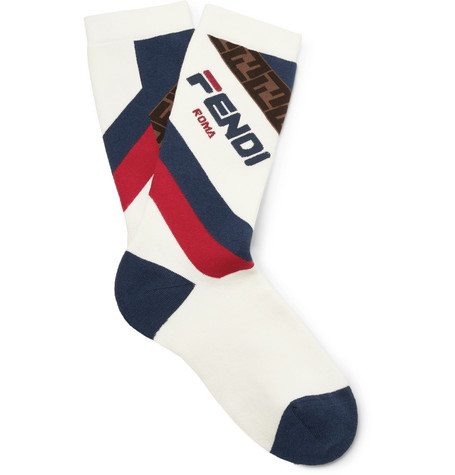 Logo Intarsia Stretch Cotton Blend Socks by Fendi