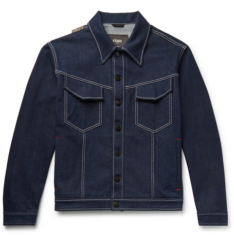 Fendi – Logo-appliquéd Stretch-denim Jacket – Blue