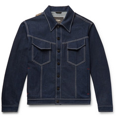 Fendi Logo-Appliquéd Stretch-Denim Jacket