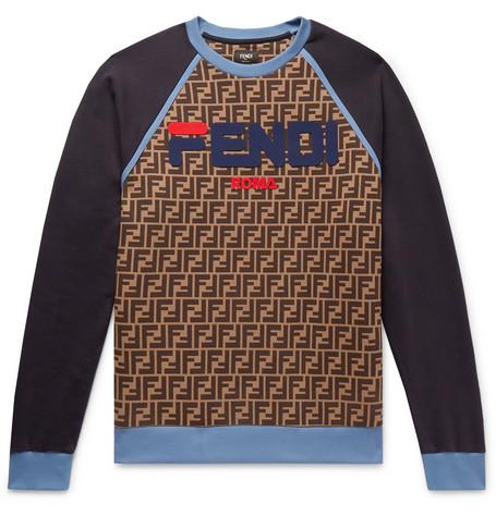 Logo Appliquéd Fleece Back Cotton Jersey Sweatshirt by Fendi