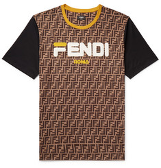 Fendi Logo-Appliquéd Printed Cotton-Jersey T-Shirt