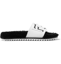 Fendi Shearling-Lined Logo-Embossed Rubber Slides