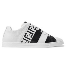 Fendi Logo-Print Leather Sneakers
