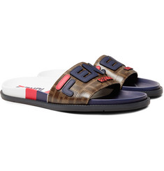 Fendi Logo-Appliquéd Coated-Canvas and Leather Slides