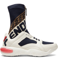 Fendi Logo-Jacquard Stretch Knit-Panelled Leather High-Top Sneakers