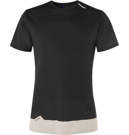 SOAR Mesh-Panelled Jersey T-Shirt - Black