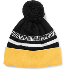 Fendi Logo-Intarsia Ribbed Virgin Wool Beanie