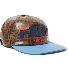 Fendi Leather-Trimmed Logo-Appliquéd Printed Coated-Canvas Baseball Cap