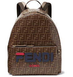 Fendi Logo-Appliquéd Leather-Trimmed Printed Coated-Canvas Backpack