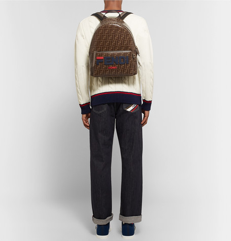 5d26828d6 Fendi - Logo-Appliquéd Leather-Trimmed Printed Coated-Canvas Backpack