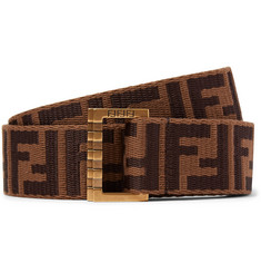 Fendi 3.5cm Brown Webbing and Leather Belt