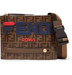 Fendi Logo-Appliquéd Printed Coated-Canvas Messenger Bag