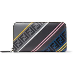 Fendi Logo-Print Leather Zip-Around Wallet