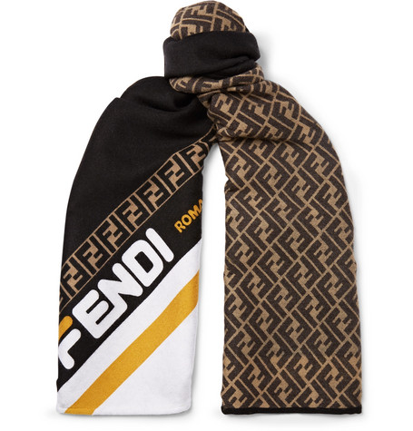 fc15bf16b22 Fendi - Logo-Jacquard Wool and Silk-Blend Scarf