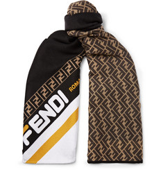 Fendi Logo-Jacquard Wool and Silk-Blend Scarf