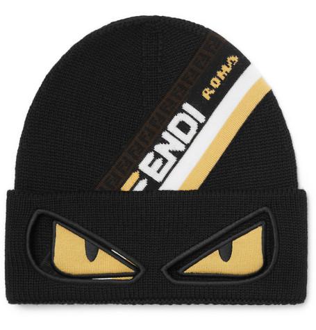 Fendi - Bag Bugs Logo-Jacquard Wool Beanie e052572b6372