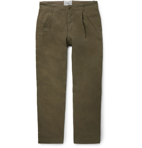 Assembly Tapered Pleated Cotton Canvas Trousers by Folk