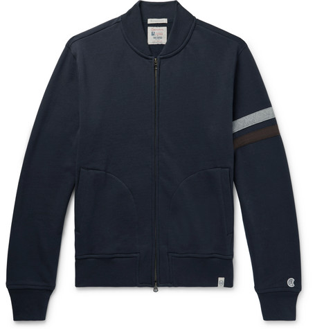 + Todd Snyder + Champion Striped Cotton Blend Fleece Back Jersey Zip Up Sweatshirt by Kingsman