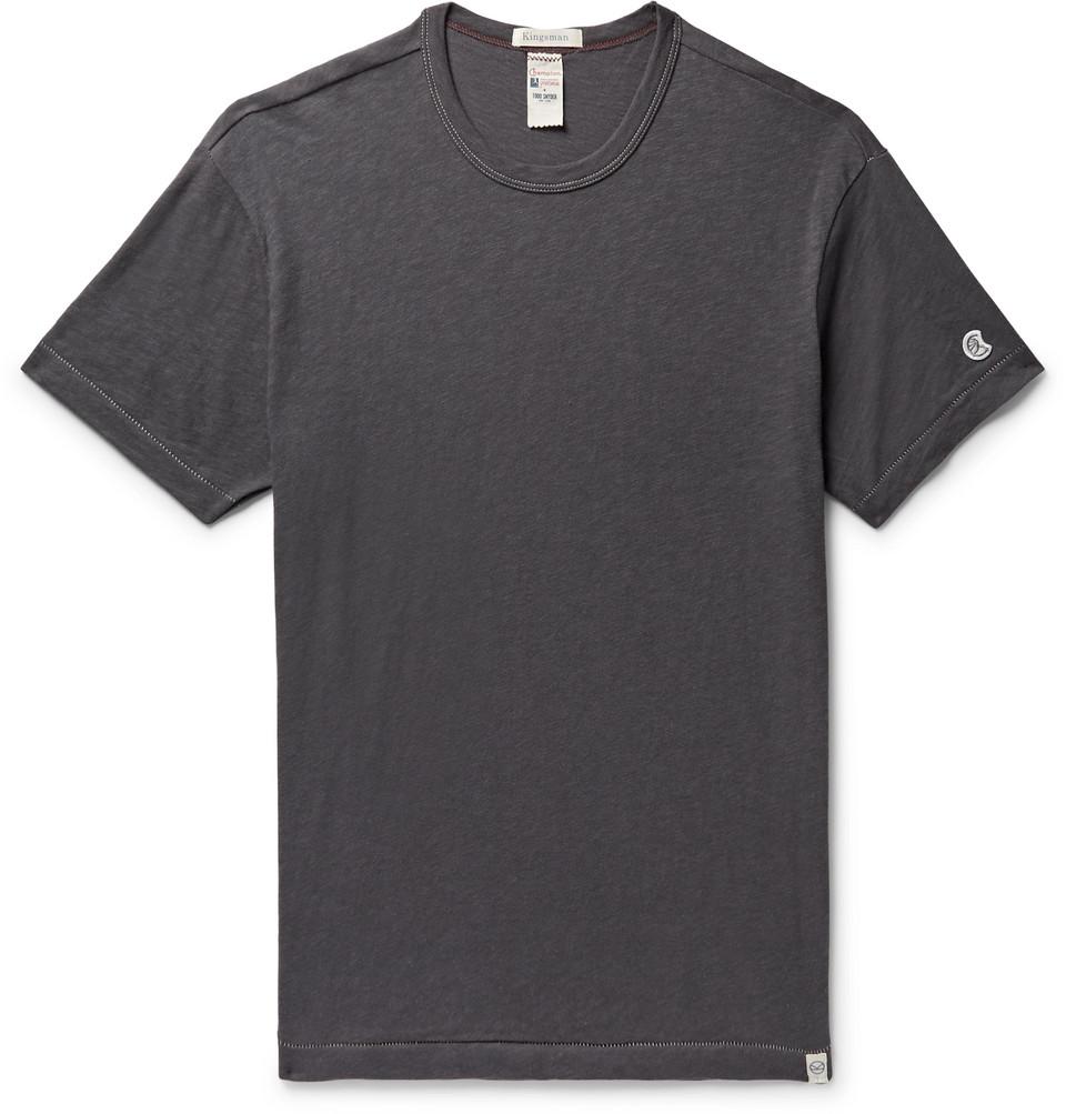 + Todd Snyder + Champion Mélange Slub Cotton-jersey T-shirt - Charcoal