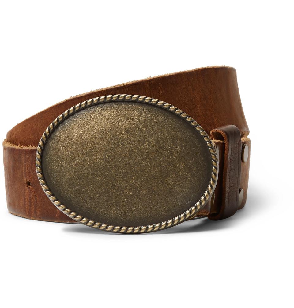 + Jean Shop Statesman 4cm Brown Leather Western Belt - Brown