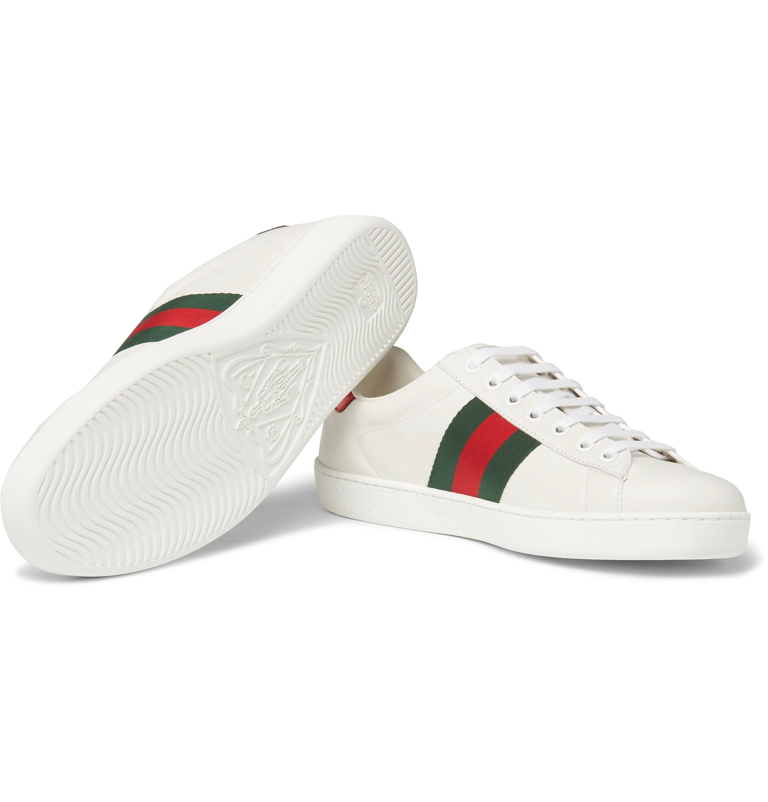 1fbb6236d Gucci - Ace Watersnake-Trimmed Appliquéd Leather Sneakers