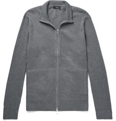 Theory Amadeo Waffle-Knit Cotton Zip-Up Cardigan
