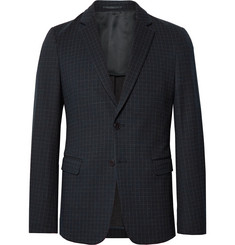 Theory Navy Clinton Checked Stretch-Ponte Blazer