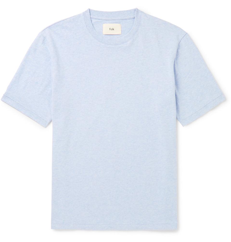 Mélange Cotton-jersey T-shirt - Light blue