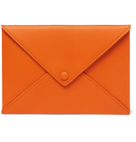 FOUNDWELL Leather Passport Cover in Orange
